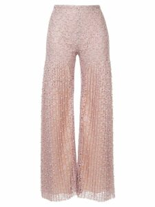 Huishan Zhang pearl embellished lace trousers - Neutrals