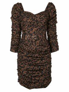 Nicholas gathered leopard print dress - Brown