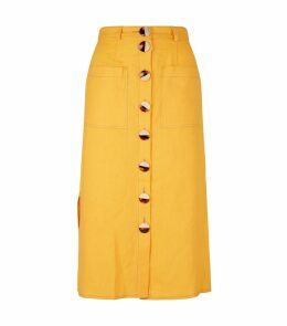 Linen Button-Front Pencil Skirt
