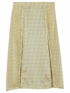 Burberry Monogram Print Silk Pleated Skirt - Yellow