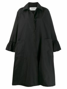Valentino ruffle detail oversized coat - Black