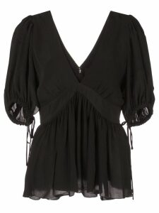Proenza Schouler Ruched Tie Short Sleeve Top - Black