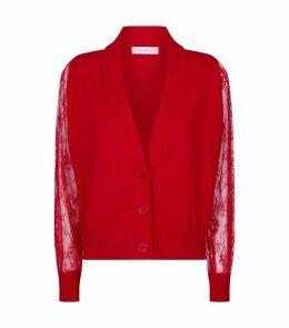 Lace Sleeve Cashmere Cardigan