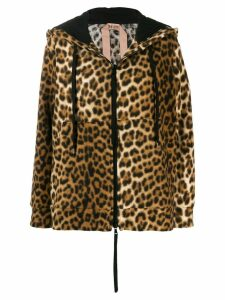 Nº21 leopard print hooded jacket - Black