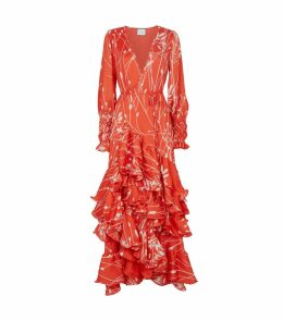 Rodina Floral Wrap Ruffle Dress