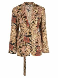 Salvatore Ferragamo palm print blazer - Brown
