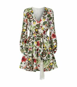 Fruit Plant Silk Mini Dress