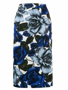 Prada rose print pencil skirt - Blue