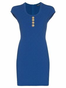 Balmain knitted mini dress - Blue