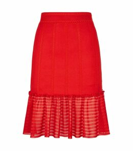 Ruffle Trim Midi Skirt