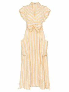 Three Graces Clarissa striped tie-waist dress - Neutrals