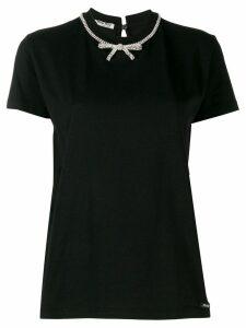 Miu Miu bow embellished T-shirt - Black