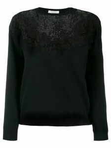 Valentino floral lace detailed sweater - Black