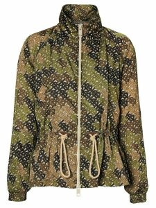 Burberry Monogram Print Nylon Funnel Neck Jacket - Green