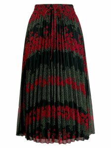 Red Valentino floral pleated skirt - Black