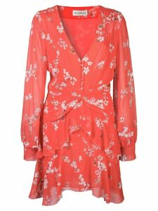 Nicholas floral print ruffle-trimmed dress - Red