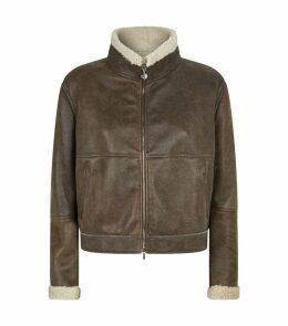 Shearling Suede Aviator Jacket