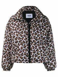 MSGM leopard print bomber jacket - Neutrals
