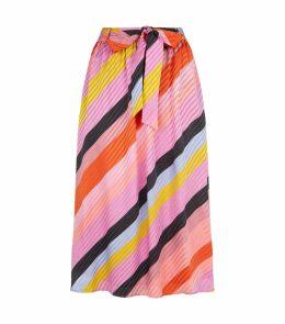 Audrey Silk Parallels Stripe Skirt