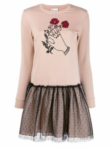 Red Valentino tulle detail dress - NEUTRALS