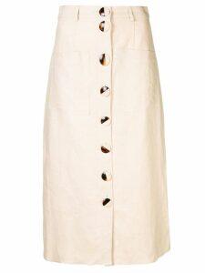 Nicholas buttoned midi skirt - Neutrals