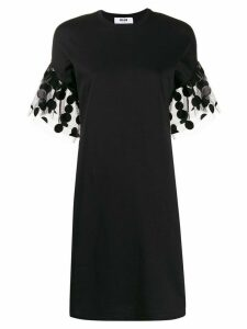 MSGM polka-dot sleeve detail T-shirt dress - Black