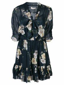 Nicholas floral print mini dress - Black