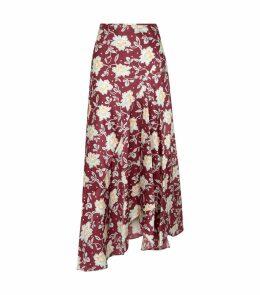 Silk Floral Midi Skirt