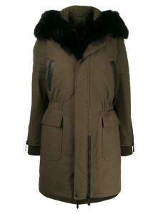 Philipp Plein fur-trimmed hooded coat - Green