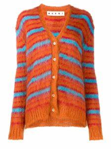 Marni fuzzy knit striped cardigan - Orange