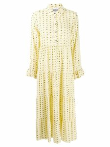 Ganni floral print shirt dress - Yellow