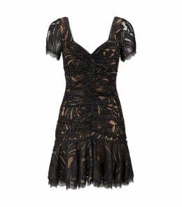 Metallic Lace Ruffle Mini Dress