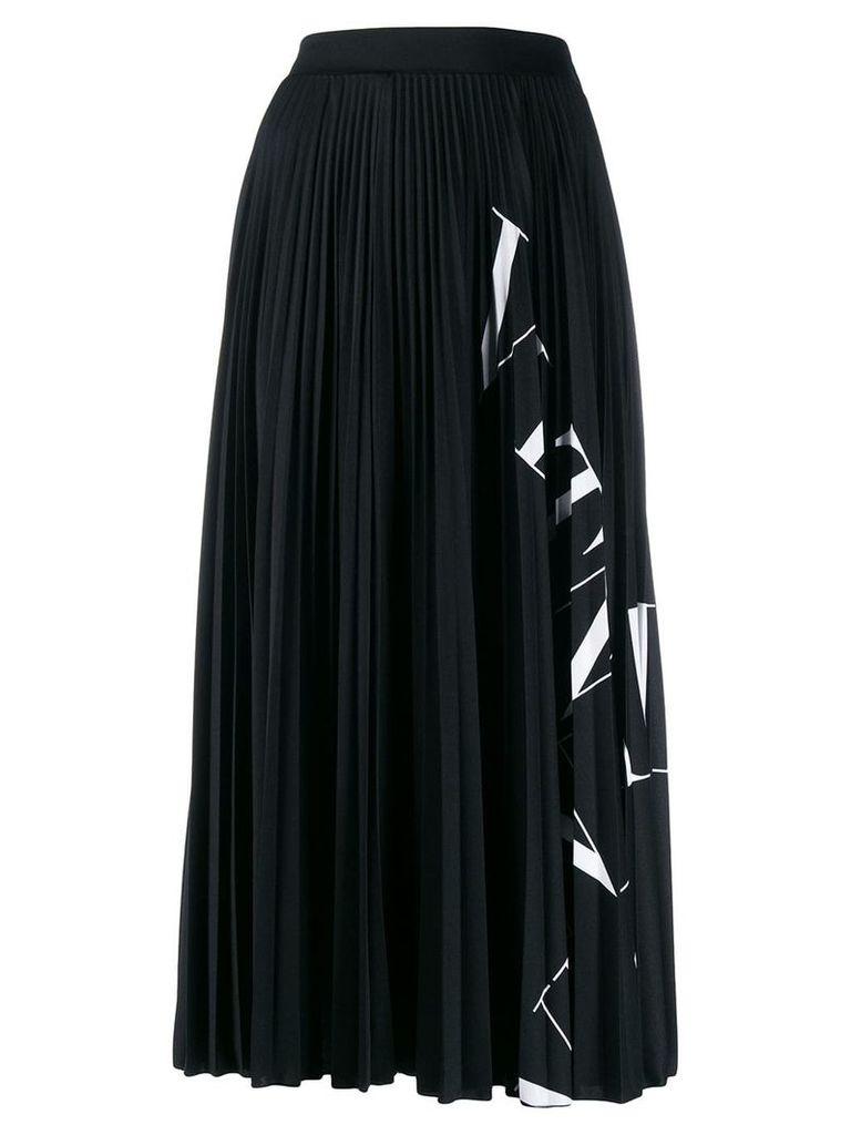 Valentino logo printed-panel midi skirt - Black