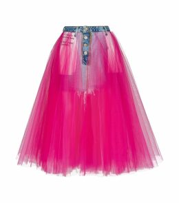 Stonewash Denim Tulle Skirt