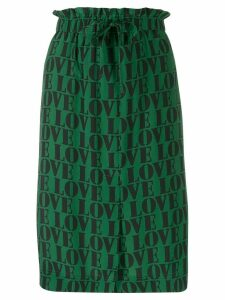 Calvin Klein love slogan print skirt - Green