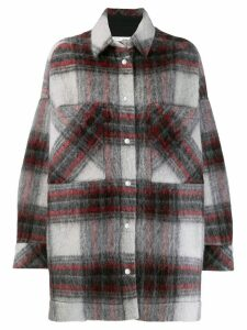 Iro oversized check print coat - Grey