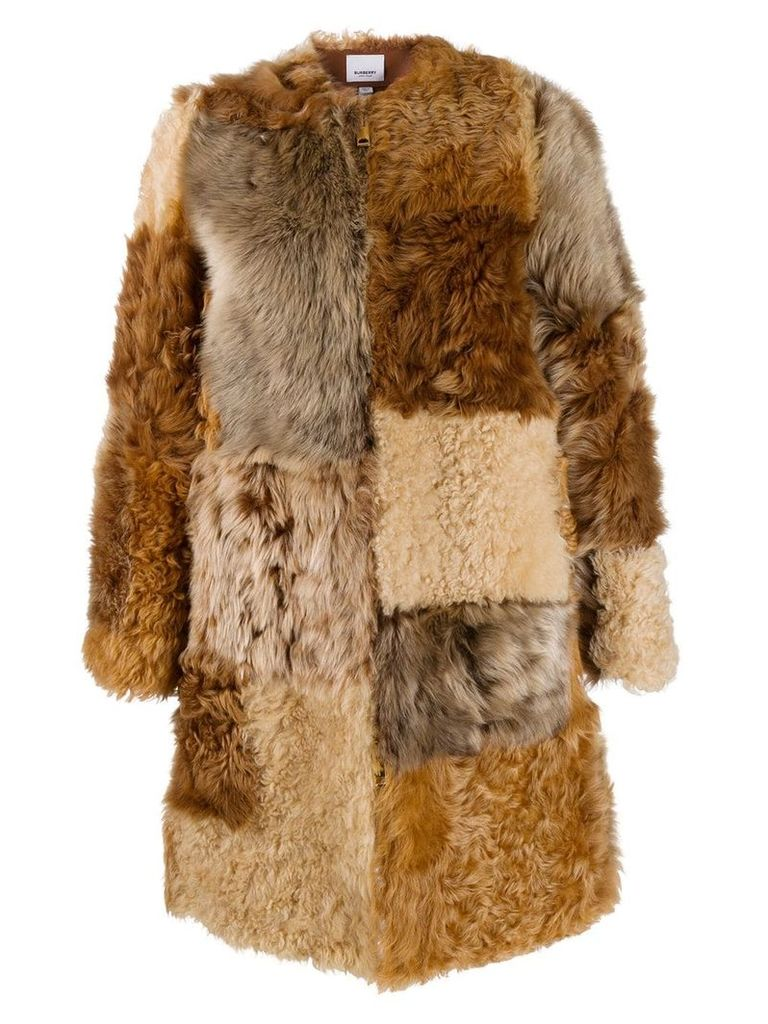 Burberry Patchwork Shearling Coat - Neutrals