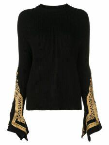 Oscar de la Renta embroidered cuffs jumper - Black