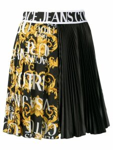 Versace Jeans Couture logo band asymmetric pleated skirt - Black