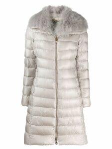 Herno fur collar padded coat - NEUTRALS