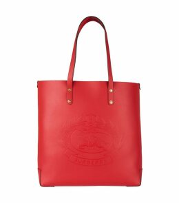 Large Leather Embossed Crest Tote Bag