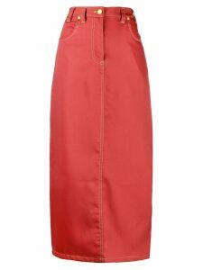 Eckhaus Latta back slit long skirt - Red