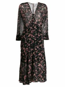 Iro floral flared midi dress - Black