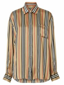 Burberry Icon Stripe Silk Oversized Shirt - Brown