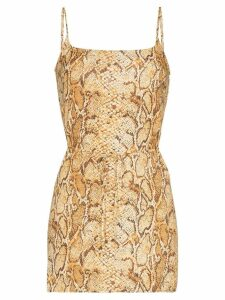 Reformation Vivette snake print mini dress - Brown