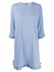 Ganni ruffle sleeve shirt dress - Blue