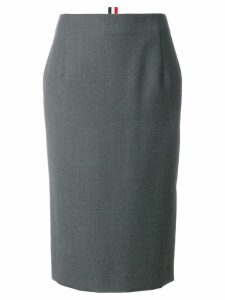 Thom Browne Striped Wool Twill Straight Skirt - Grey