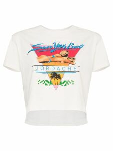 Jordache Sun Your Buns cropped T-shirt - White