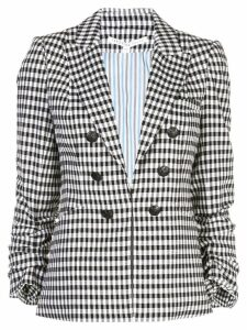 Veronica Beard check gathered sleeve blazer - Black