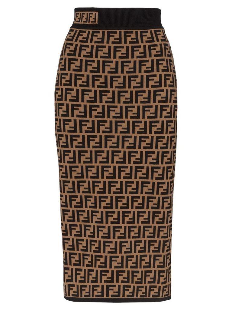 Fendi FF logo intarsia knitted pencil skirt - Brown